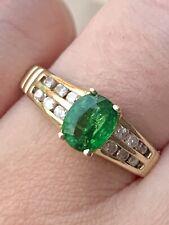 14k Solid Yellow Gold Natural Green Tsavorite Garnet And Diamonds Ring