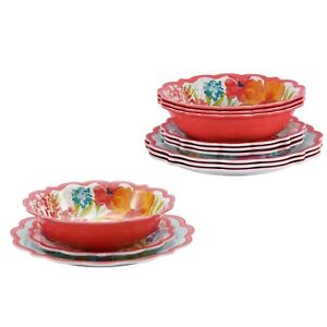 NEW Pioneer Woman Sunny Days 12-Piece Melamine Coral Dinnerware Set