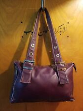 PERLINA New York Purple Leather Satchel Shoulder Women Bag Purse