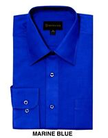 Men Dress Shirt Regular Fit Dimension Solid Color Royal Blue