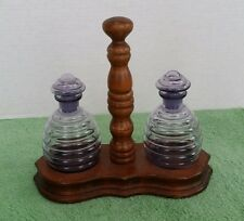 Vintage Oil and Vinegar Bottle Czechoslovakia Purple Glass Wood Stand Dispenser