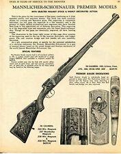 1968 Print Ad of Mannlicher-Schoenauer Premier Model Carbine & Rifle