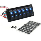 6-Gang Car Marine Boat Waterproof Circuit Blue LED Rocker Switch Panel Breaker