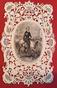 CANIVET IMAGE PIEUSE HOLLY CARD A.SAINTIN CHEVAL CAVALIER CROIX VERS 1850