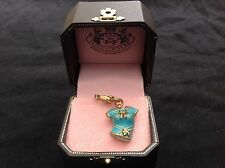 NIB Juicy Couture New Genuine Boxed Gold & Blue T.Shirt Charm Engraved Logo