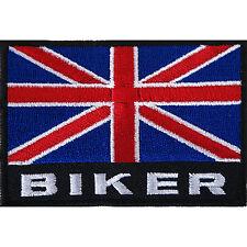 UK Flag Biker Patch Embroidered Iron / Sew On Jacket Badge Motorcycle Motorbike