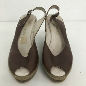 Russell & Bromley Shoes Ladies UK 4 EU 37 Brown Leather Slingback Wedge 071207