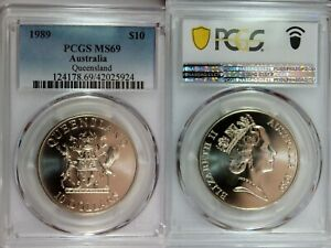 1989 Australia Silver $10 PCGS MS69 Queensland Prooflike Surfaces