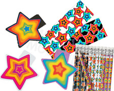Pack of 36 Stars Theme Stationery Pack, Pencils Bookmarks Notepads Party Fillers