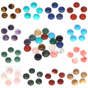 Wholesale 20mm Gemstone Round Flat Back Cabochon Beads Jewellery Making 5Pcs