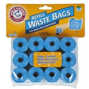 Arm & Hammer Disposable Dog Waste Bag Refills, Blue, 180 Count