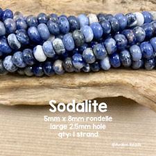Sodalite Beads -  5x8mm Rondelles - 8 Inch Strand of 37 Beads
