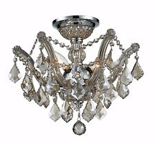 """3-Light 16"""" Pan Chrome Finish Golden Teak Crystal Flush Mount Ceiling Chandelier"""