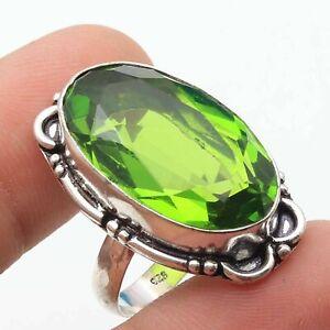 Peridot Quartz Hamdmade Gemstone Ring US 6.5 Ethnic Gift Jewelry T16599