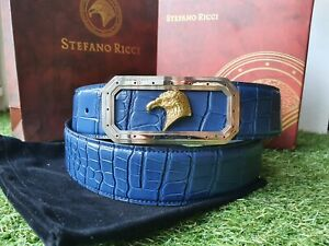Stefano Ricci blue belt with rectangular  buckle