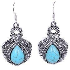 Teardrop Turquoise Dangle Blue Pendant Women Vintage Style Hook Pair Earrings