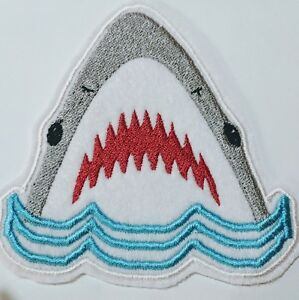 Shark embroidered patch iron or sew on