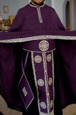 Orthodox priest vestments set. Embroidered. White-white