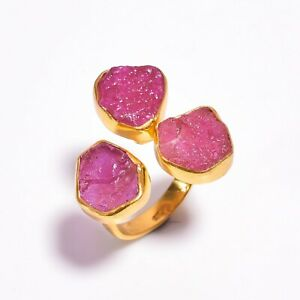 925 Sterling Silver Gold Plated Ring Size US 8, Ruby Gemstone Jewelry RSGR311