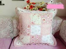 Shabby Quilted Cotton Cushion Cover Pillow Case Sham Patchwork Chair Sofa Pink P