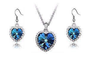 NEW Titanic Heart Of Ocean Silver Diamond Earrings + Necklace Bridal Wedding Set