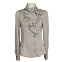 Womens Office Shirt Ladies Silky Ruffle Blouse Satin Top Size Beige Purple White