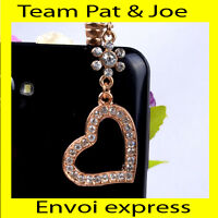 BIJOU CACHE POUSSIERE telephone portable pour PRISE JACK style Coeur Diamant