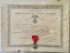 MÉDAILLE LÉGION D'HONNEUR + DIPLÔME 1947