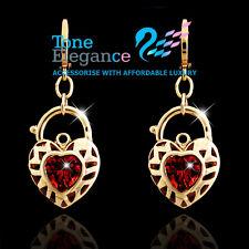 18k yellow gold GF vintage style heart padlock solid hoop dangle earrings R