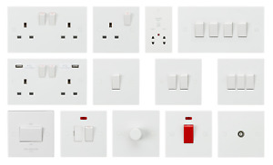 SHP ELECTRICAL - White Square Premium Electrical Socket and Switch Range 13A USB