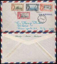BAHAMAS 1957 MULTI FRANKING STANLEY NASSAU AIRMAIL ENVELOPE
