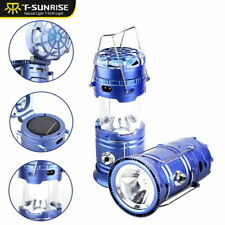 5W Solar LED Camping Lights Outdoor Tent Mini Fan Rechargeable Flashlight Lamp