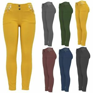 Ladies Work Office soft  Trousers womens  Winter casual pants leggings Button