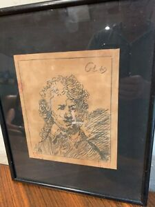 Rembrandt print self portrait signed dated 1629 with 5 red wax collector seals