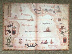 DECORATIVE BOOK PLATE Reproduction Map Portolan Chart Of Atlantic Ocean 1558