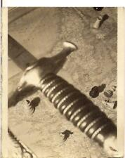 Sword Atop Map Of Europe Ireland Rrance Germany Chess Pieces Vtg Abstract Photo