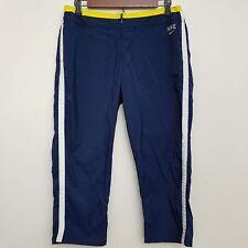 Nike Womens Cropped Capri Windbreaker Pants Medium Blue Yellow Polyester Nylon