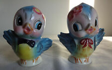 Vintage 50s Lefton Bluebird Figurines Blue Birds Porcelain Salt & Pepper Shakers