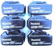 (6) New Genuine Makita 18V BL1850B 5.0 AH Batteries LED Gauge 18 Volt LXT