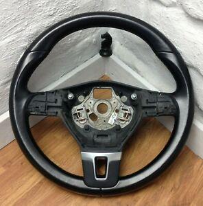 Genuine VW black leather 3 spoke steering wheel for T5.1 Transporter. 1B