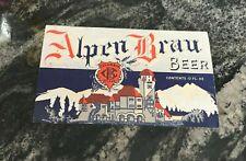 Vintage Alpen Brau Beer Bottle Label Columbia Brewing Co St. Louis Mo
