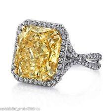 7.77CT Fancy Golden Orange Yellow Cushion Cut Engagement Wedding 925 Silver Ring