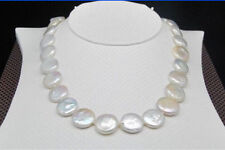 """Natural 12-13MM White SOUTH SEA Coin Pearl Necklace 17"""""""