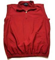 Callaway Golf Sport Mens Red Sleeveless 1/4 Zip Windbreaker Vest Size Medium