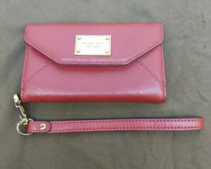 GENUINE MICHAEL KORS iPhone 5 5S SE WALLET CLUTCH WRISTLET PHONE CASE COVER RED
