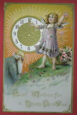 ANTIQUE BEST WISHES FOR A HAPPY NEW YEAR TUCKS POSTCARD-FATHER TIME/CHERUB/ANGEL