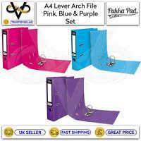 Pukka A4 Lever Arch File Pink, Blue & Purple Binder Folders School Office Set