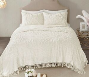 LAETITIA IVORY CHENILLE 3pc King COVERLET SET : VINTAGE STYLE COTTON QUILT