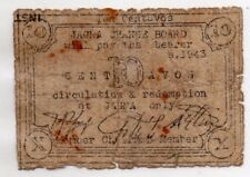 Philippines 1943 Jagna Bohol 10 Centavos WW2 Municipality BOH-472a On Tax Form