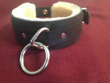 Real fur lined leather collar / choker --restraint  dom slave